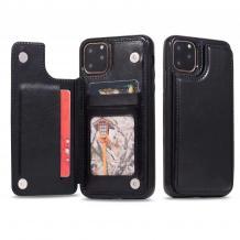 """Луксозен кожен гръб с магнитно закопчаване за Apple iPhone 11 Pro Max 6.5"""" - черен / слот за карти"""