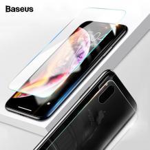 3D full cover Tempered Glass Screen Protector Baseus за Apple iPhone X / Извит стъклен скрийн протектор Baseus за Apple iPhone X - прозрачен / лице и гръб
