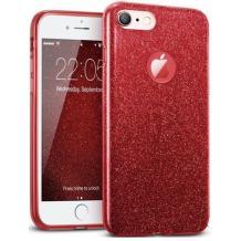Силиконов калъф / гръб / TPU за Apple iPhone 6 / iPhone 6S - червен / брокат