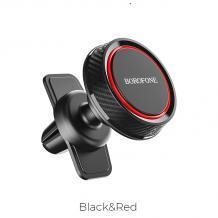 Универсална стойка за кола Borofone Magnetic Car Vent Holder въртяща се на 360 градуса - черно / червено