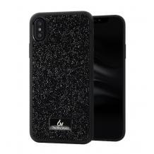Луксозен твърд гръб с камъни за Samsung Galaxy A70 - черен