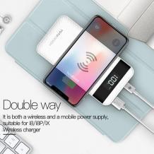 Оригинална универсална външна батерия с безжично зареждане TOTU Design / Universal Wireless Charger Dual USB Power Bank TOTU Design 10000mAh - черна