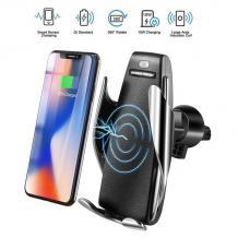 Автоматична стойка за кола с безжично зареждане / s5 Automatic Smart Sensor Car Wireless Charger 10W Fast Wireless Charger - черна