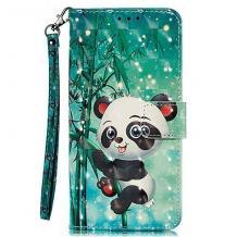 Кожен калъф Flip тефтер Flexi със стойка за Huawei Nova 5T / Honor 20 - зелен / Bamboo Panda