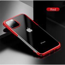 Луксозен твърд гръб Baseus Glitter Clear Case за Apple iPhone 11 6.1 - прозрачен / червен кант