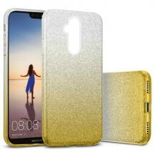 Силиконов калъф / гръб / TPU за Huawei Mate 20 Lite - преливащ / сребристо и златисто / брокат
