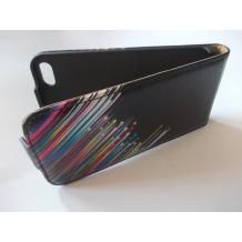 Кожен калъф Flip тефтер за Apple iPhone 5 / iPhone 5S - цветна дъга / гравирана кожа