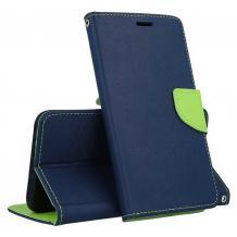 Кожен калъф Flip тефтер със стойка MERCURY Fancy Diary за Huawei P Smart 2021 - тъмно син със зелено