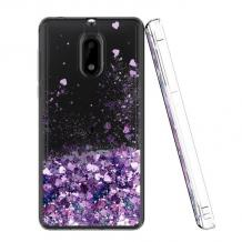 Луксозен твърд гръб 3D Water Case за Nokia 5.1 2018 - прозрачен / течен гръб с лилав брокат