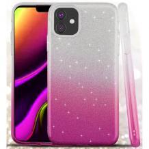 Силиконов калъф / гръб / TPU за Apple iPhone 11 6.1'' - преливащ / сребристо и розово / брокат