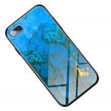 Луксозен стъклен твърд гръб за Apple iPhone 7 Plus / iPhone 8 Plus - син със златисто
