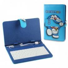 Универсален кожен калъф за таблет 7'' със стойка и клавиатура - син / Doraemon