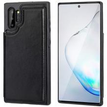 Луксозен кожен гръб с магнитно закопчаване за Huawei P30 Pro - черен / слот за карти