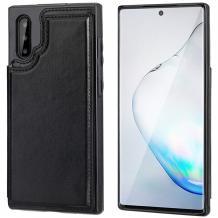 Луксозен кожен гръб с магнитно закопчаване за Samsung Galaxy A50 / A50S / A30S - черен / слот за карти