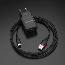 Универсално зарядно устройство 220V BOROFONE BA20A 2.1A / Type C кабел - черно