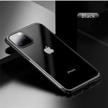 Луксозен твърд гръб Baseus Glitter Clear Case за Apple iPhone 11 Pro Max 6.5 - прозрачен / черен кант