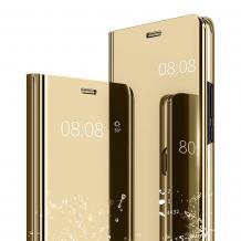 Луксозен калъф Clear View Cover с твърд гръб за Huawei Y5 2019 - златист