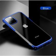 Луксозен твърд гръб Baseus Glitter Clear Case за Apple iPhone 11 Pro Max 6.5 - прозрачен / син кант