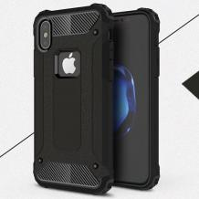Силиконов гръб TPU Spigen Hybrid с твърда част за Apple iPhone X / iPhone XS - черен