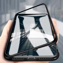 Магнитен калъф Bumper Case 360° FULL за Motorola Moto E6 Plus - прозрачен / черна рамка