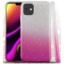 Силиконов калъф / гръб / TPU за Apple iPhone 12 / 12 Pro 6.1'' - преливащ / сребристо и розово / брокат