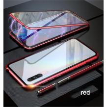 Магнитен калъф Bumper Case 360° FULL за Samsung Galaxy A50 / A50S / A30S - прозрачен / червена рамка