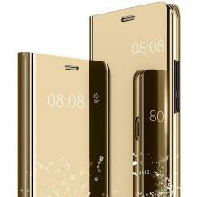 Луксозен калъф Clear View Cover с твърд гръб за Huawei Y5p - златист