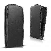 Кожен калъф Flip тефтер Flexi със силиконов гръб за Huawei P30 Lite - черен