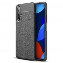 Луксозен силиконов калъф / гръб / TPU за Huawei Nova 5T / Honor 20 - черен / имитиращ кожа