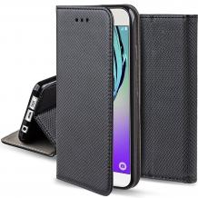 Кожен калъф Magnet Case със стойка за HTC Desire 12 Plus - черен