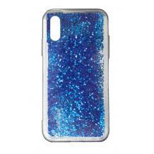 Луксозен твърд гръб 3D Water Case за Huawei P Smart Pro - прозрачен / течен гръб със син брокат