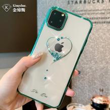 "Луксозен твърд гръб KINGXBAR Swarovski Diamond за Apple iPhone 11 Pro 5.8"" - прозрачен / тюркоаз кант / сърце"