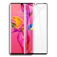 3D full cover Tempered glass Full Glue screen protector Huawei P30 Pro / Извит стъклен скрийн протектор с лепило от вътрешната страна за Huawei P30 Pro - черен
