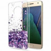 Луксозен гръб 3D Water Case за Motorola Moto G9 Play - прозрачен / течен гръб с лилав брокат / сърца