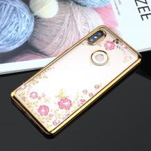Луксозен силиконов калъф / гръб / TPU с камъни за Huawei P Smart Z / Y9 Prime 2019 - прозрачен / розови цветя / златист кант