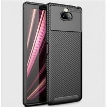 Луксозен силиконов калъф / гръб / TPU Auto Focus за Sony Xperia 10 Plus - черен / Carbon