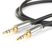 Аудио кабел AUX MC-AU320 3.5мм към 3.5мм / 1м - черен със сребристо