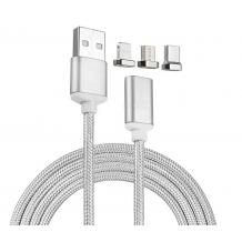 Магнитен USB кабел 3in1 / USB Type-C 3in1 Magnetic Charging Data Cable - сребрист