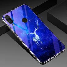 Луксозен стъклен твърд гръб със силиконов кант за Huawei P30 Lite - бял елен