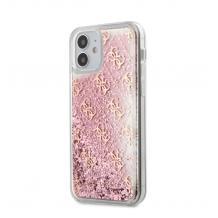 """Луксозен гръб 3D Guess Glitter Case за Apple iPhone 12 mini 5.4"""" - прозрачен / розов брокат"""