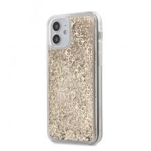 "Луксозен гръб 3D Guess Glitter Case за Apple iPhone 12 mini 5.4"" - прозрачен / златист брокат"