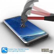 Оригинален извит стъклен протектор /3D full cover Tempered glass screen protector / за Samsung Galaxy Note 8 N950 - сребрист