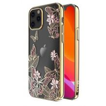 Луксозен твърд гръб KINGXBAR Swarovski Diamond за Apple iPhone 12 /12 Pro 6.1'' - прозрачен със златен кант / пеперуди