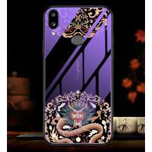 Луксозен стъклен твърд гръб за Huawei Y7 2019 - дракон