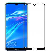 3D full cover Tempered glass Full Glue screen protector Huawei Y7 2019 / Извит стъклен скрийн протектор с лепило от вътрешната страна за Huawei Y7 2019 - черен