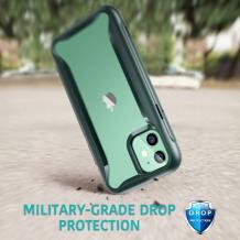 "Луксозен гръб Hybrid Armor 360° за Apple iPhone 11 6.1"" - прозрачен / зелен кант"