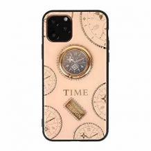 """Луксозен гръб Tybomb Diamond с магнитна стойка и силиконов кант за Apple iPhone 11 6.1"""" - бежов"""
