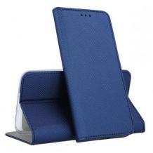 Кожен калъф Magnet Case със стойка за Motorola Moto E6 Plus - син
