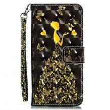 Кожен калъф Flip тефтер Flexi със стойка за Xiaomi Redmi Note 8T - черен / Butterfly Woman
