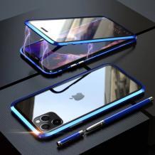 Магнитен калъф Bumper Case 360° FULL за Apple iPhone 11 6.1'' - прозрачен / синя рамка